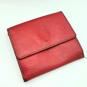 💯 authentic Louis Vuitton red epi leather wallet